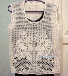 Блуза в филейной технике. Работа Любови вязание и схемы вязания