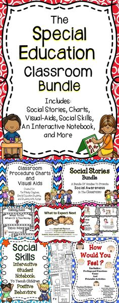 This Special Education Bundle will have a positive impact on the students in your classroom. This bundle includes the tools I have used in my special education classroom and with my students in the general education classroom setting. This is a growing bundle and you will get free products each time I upload new special education items to my Teachers Pay Teachers store! #education
