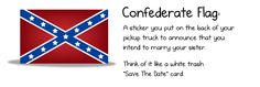 If it's your heritage at least get the correct confederate flag your ancestors fought under. This is solely the battle flag of the Army of Northern Virginia. Also you're welcome. My ancestors allowing yours to go home with their tails tucked are the reason you even exist.That being said I believe in protecting all forms of speech and your right to be a dickhead.