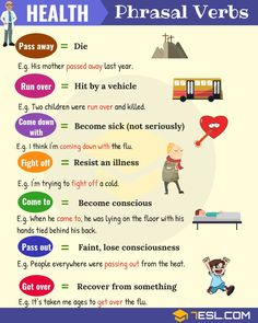 List of useful health phrasal verbs in English with their meaning and examples. Learn these common phrasal verbs for health, fitness, sickness and death with ESL picture to increase your English vocabulary. Advanced English Vocabulary, Learn English Grammar, Learn English Words, English Language Learning, Teaching English, English Lessons For Kids, French Lessons, German Language, Education English