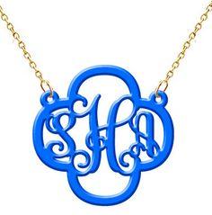 Monogram Necklace Hand Made Custom Acrylic Blue Clover