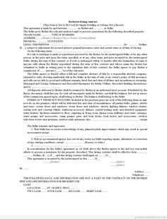 Sample Printable Exclusive Listing Contract Form