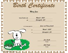 A dog birth certificate bordered in bones and featuring a happy adopted dog. Free to download and print