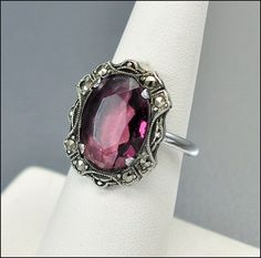 Marcasite Sterling Silver Art Deco Ring Purple Glass #Vintage #Jewelry #Deco
