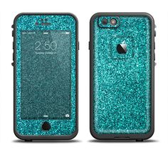 The Teal Glitter Ultra Metallic Apple iPhone 6 LifeProof Fre Case Skin Set