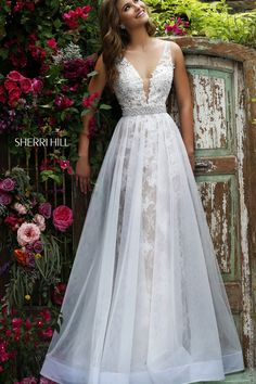 Wedding Dresses, Bridesmaid Dresses, Prom Dresses and Bridal Dresses Sherri Hill - Style 11282 [11282] - Sherri Hill, Spring 2016. Lace & tulle A-line with beaded waistband.