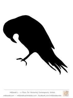 Bird Silhouette Stencil Template Crow at www.milliande-printables.com  Free printable bird Silhouette Template Collection - Crow Silhouettes   LOVE IT !!!