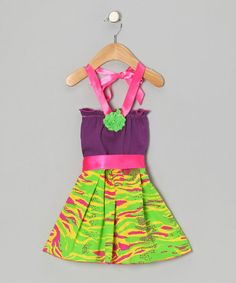 Take a look at this Purple & Lime Zebra Halter Dress - Infant, Toddler & Girls by Koko Bean on #zulily today!