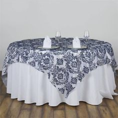 """Navy Flocking Overlay 90""""x90"""" 