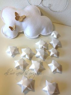 cloud mobile with origami stars. So cute!