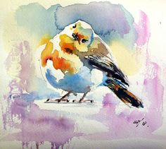 Buy Prints of Cute little bird II, a Watercolor Painting on Paper, by Kovacs Anna Brigitta from Hungary, Sold out, Price is $190, Size is 7.1 x 7.1 x 0 in.