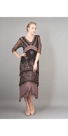 5901 Vintage Titanic Dress in Black/Coco