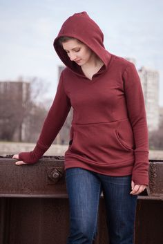Plus size (and regular and mens) hoodie pattern.  Cool pocket on the back for partner to keep hand warm while having arm around you.