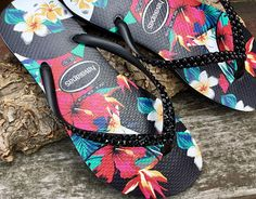 1680814e9e83 Black Havaianas Slim flat Pearl Crystal Flip Flops Aloha Hawaii Flowers  Tropic w  Swarovski Rhinestone Jewel Custom Bling Beach Slip on Shoe