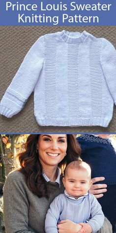 Thanks ureincke for this post.Knitting Pattern for Prince Louis Sweater Baby and Child Sizes.Knitting Pattern for Prince Louis Pale Blue Sweater - Inspired by textured crew neck pullover Prince Louis wore in the Cambridges' 2018 Christmas phot# baby Baby Boy Knitting Patterns Free, Baby Sweater Patterns, Baby Sweater Knitting Pattern, Baby Hats Knitting, Knitting For Kids, Baby Patterns, Finger Knitting, Scarf Patterns, Hand Knitting