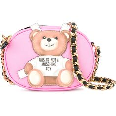 Moschino Toy Bear Paper Cut Out Crossbody Bag (35,425 INR) ❤ liked on Polyvore featuring bags, handbags, shoulder bags, crossbody purses, chain strap handbags, crossbody shoulder bag, pink purse and chain strap crossbody purse