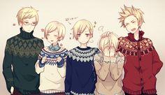 Berwald, Tino, Lukas, Emil (headcanon name for Iceland) and Arne (headcanon name for Denmark) in Christmas sweaters! Image by Yugake (mrnmrm) via Zerochan