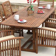 Acacia Wood Outdoor Dining Table - Dark Brown