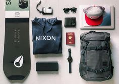 Travel essentials from Nixon. A brand new snowboard for the newt snow session. A Nixon Sweater to stay warm. The Nixon Mission smartwatch is connected to your phone and gives you avery details you need to ride perfectly. Also take the Nixon Blaster speaker to listen to music on the slopes. Takes all of your essentials in the landlock Backpack. Pack it up. #Nixon #Travel #Backpack