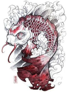 "Koi fish are the domesticated variety of common carp. Actually, the word ""koi"" comes from the Japanese word that means ""carp"". Outdoor koi ponds are relaxing. Tattoo Sketchbook, Tattoo Sketches, Tattoo Drawings, Body Art Tattoos, Sketchbook Project, Bird Tattoos, Sleeve Tattoos, Koi Tattoo Design, Tattoo Designs"