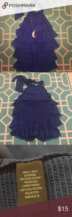 Rampage Ruffle Halter Top Beautiful blue ruffle halter top. Ties at the top and has stretchy back material (pictured). Great condition, only worn once. Rampage Tops Blouses