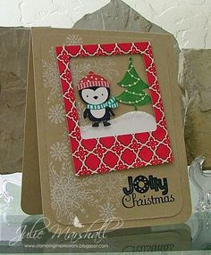 Stamps: No Peeking & Serene Snowflakes Paper: Crumb Cake & Whisper White Cardstock; Candlelight Christmas DSP Ink: Raspberry Ripple, Bermuda Bay, Garden Green, Basic Black Classic Pads; Whisper White Craft Ink Accessories: Instant Photo 2 Die Cut (or On Film Die Cut), Corner Rounder, Stickles, Crystal Effects and Diamond Dust