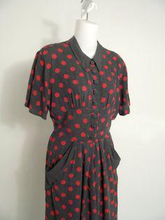 1940s Rockabilly Dress 1950s Polka Dot by StilettoGirlVintage, $68.00