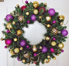 24 purple and gold christmas wreath by noelsbynatalie on etsy 2800 purple christmas decorations - Purple And Gold Christmas Tree Decorations
