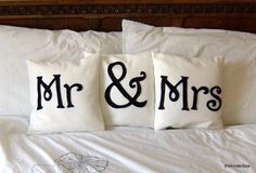 Mr & Mrs pillows for the bed! I'm a sucker for these, I'm a newlywed what can I say! Mr Mrs, Cute Pillows, Bed Pillows, Cheap Pillows, When I Get Married, Married Life, White Houses, Pillow Talk, Pillow Fight