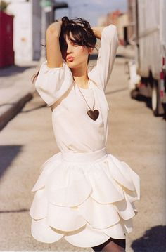 white on white || Scallop Skirt || Layered Skirt || Erin Fetherston || Zooey Deschanel <3