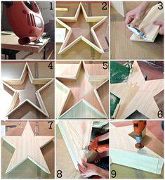 DIY: Estrella de Madera Luminosa   La Bici Azul: Blog de decoración, tendencias, DIY, recetas y arte