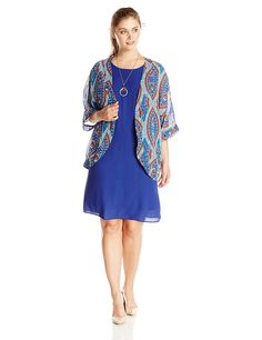 AGB Women's Plus-Size Sheath Dress with Printed Kimono Two-Piece Set *** This is an Amazon Affiliate link. Find out more about the great product at the image link.