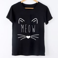 "Cute Cat ""Meow"" Print T Shirt //Price: $11.00 & FREE Shipping //     #instagood"