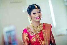 Traditional Southern Indian bride wearing bridal silk saree and jewellery. Reception look. Makeup and hairstyle by Swank Studio. Photo credit: Sumanth Shetty #BridalSareeBlouse #SariBlouseDesign Silk kanchipuram sari. Tamil bride. Telugu bride. Kannada bride. Hindu bride. Malayalee bride Find us at https://www.facebook.com/SwankStudioBangalore