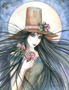 Art: Rose Witch by Artist Molly Harrison Fable, Cute Dragons, Witch Art, Halloween Art, Happy Halloween, Eye Art, Gothic Art, Fairy Art, Art Portfolio