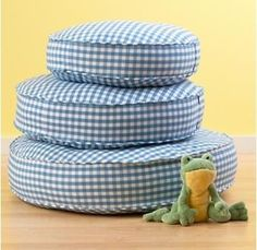 Kids Blue Gingham Stackable Floor Cushions - traditional - kids chairs - The Land of Nod