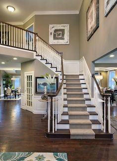 Staircase in Open Floor Plan. want to put my christmas tree by the stairs More - House Designs Exterior Villa Plan, Foyer Decorating, Decorating Ideas, Staircase Design, Staircase Ideas, Interior Staircase, Modern Staircase, Entryway Ideas, House Goals