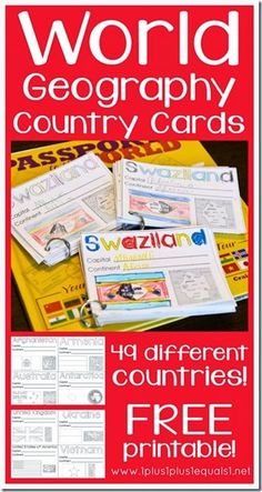 Printable World Geography Country Cards - This is a great resource for homeschool kids from Kindergarten - grade!FREE Printable World Geography Country Cards - This is a great resource for homeschool kids from Kindergarten - grade! Geography Classroom, Geography Activities, Geography For Kids, Teaching Geography, Geography Quotes, Geography Revision, Dinosaur Activities, Middle School Geography, World History Lessons