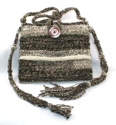 """Raven's Nest - the Peace of Morning"" hand woven tapestry purse using my hand spun wool yarns."