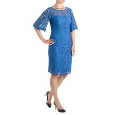 Buy Adrianna Papell  Flutter Sleeve Lace Sheath Dress, Baltic Online at johnlewis.com