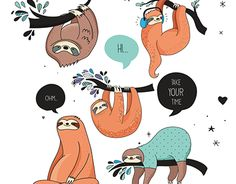 Cute Sloths characters, cards, posters and patterns
