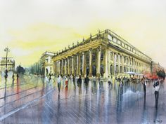 Le Grand theatre - Watercolor by Nicolas Jolly. #drawing #watercolor #painting #art