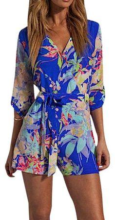 Yumi Kim Blue Floral Printed Surplice Wrap New Romper/Jumpsuit