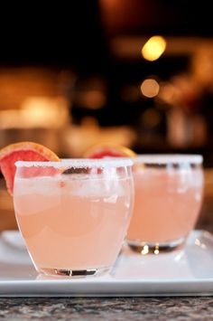 The Paloma:  ¼ cup tequila  ¼ cup club soda  ¼ cup fresh grapefruit juice  1 tbsp fresh lime juice  1 tsp sugar  Small plate with sugar  Grapefruit or Lime wedge