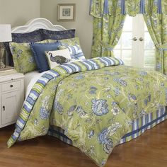 Waverly Casablanca  Comforter Set $199 for queen, comforter, skirt, two shams, comforter reversible, fabric is lightly textured, jute rope trim, which are nice details, jacobean floral