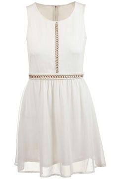 White Sleeveless Chain Embellished Zipper Chiffon Dress - Sheinside.com
