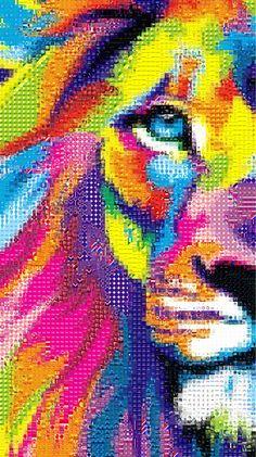 'Colorful Lion', a photo tile mosaic at TileArray via @1monicks  #mosaic #mosaics #lion #lions #animals #tilearray