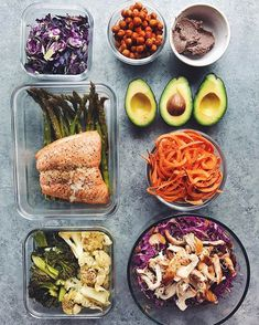 i have to say, my meal prep game today was i get a lot of questions about my bowls and how i have time to prepare each individual ingredient. the answer is easy: meal prep ☝i spend a few hours at the beginning of each week, prepping each ingredient for ultimate easy bowl assembly. this not only saves me time, but my sanity and dishes from top right: sliced purple brussels for quick sautéing, paprika roasted chickpeas, cumin black bean dip, avocados, spiralized sweet potatoes, sesame ...