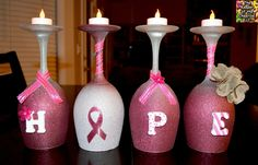 The Keeper of the Cheerios: Breast Cancer Awareness Wine Glasses (Candle Holders) raffle idea Cancer Survivor Party, Breast Cancer Party, Breast Cancer Crafts, Breast Cancer Fundraiser, Cancer Free Party, Breast Cancer Wreath, Pink Out, Wine Glass Crafts, Wine Bottle Crafts