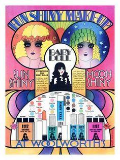 - Baby Doll Cosmetics, Woolworths, Make-up Advert, Art Print) Vintage Makeup Ads, Retro Makeup, Vintage Beauty, Uk Makeup, Doll Makeup, Vintage Labels, Vintage Ads, Vintage Posters, Vintage Style